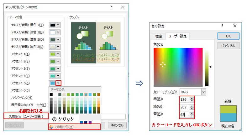 配色設定カスタマイズ機能イメージ5_PowerPoint(パワーポイント)研修セミナー